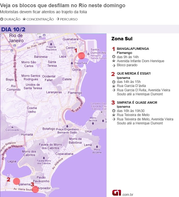 Mapa dos blocos de domingo na Zona Sul (Foto: Editoria de Arte)