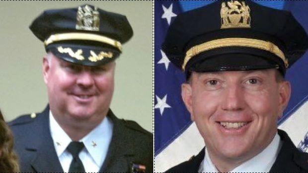 Michael Harrington (esq) e James Grant foram presos pelo FBI (Foto: NYPD)