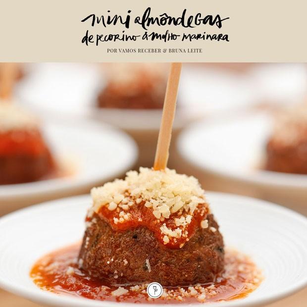 Mini almôndegas com queijo pecorino e molho marinara (Foto: Julio Acevedo)