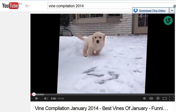 Ao passar o mouse sobre o vídeo, o menu de download aparece (Foto: Reprodução/Paulo Alves)