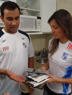 Fabíola Molina e Diogo Yabe no Tá em Casa (Foto: Divulgação SporTV)