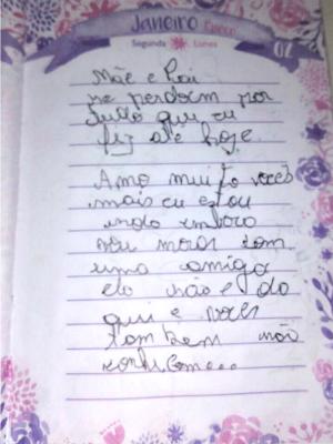 Em carta, jovem que fugiu de casa há seis diz pede perdão aos pais e diz que vai morar com amiga (Foto: Arquivo pessoal)