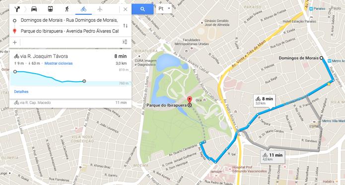 Google Maps passa a mostrar rotas de bicicleta em 4 cidades brasileiras (Foto: Reprodução/Paulo Alves)