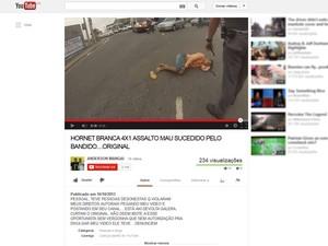 Criminoso que roubou motociclista em São Paulo (Foto: reprodução / YouTube)