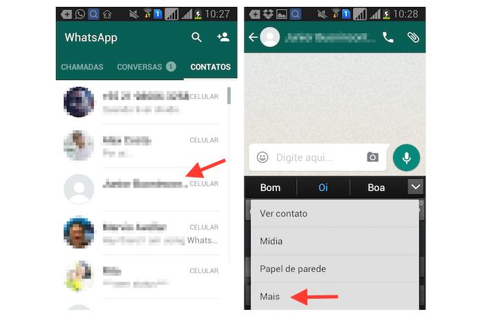 Acessando as opções extras para um contato do WhatsApp no Android (Foto: Reprodução/Marvin Costa)