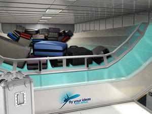 Simulação de como funcionaria o sistema de carregamento de bagagem (Foto: Divulgação)