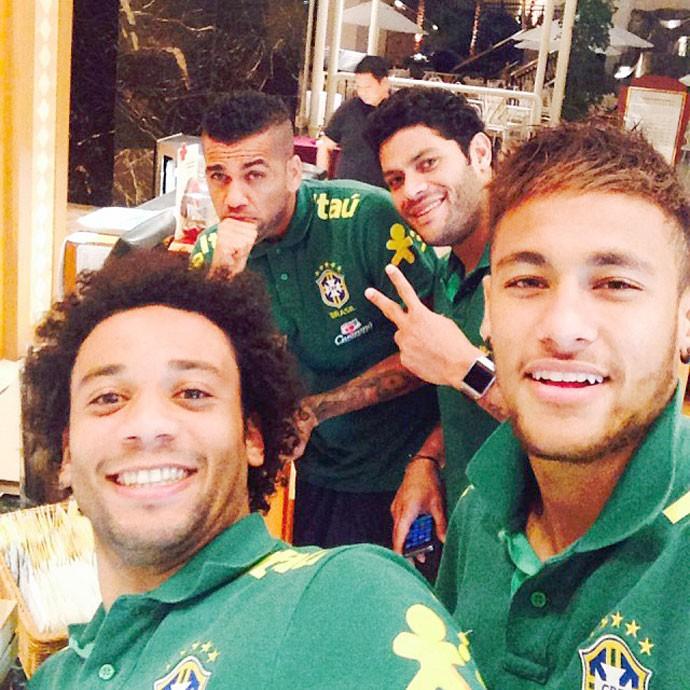 Neymar, Marcelo, Hulk e Daniel Alves Seleção Brasileira (Foto: Reprodução / Instagram)