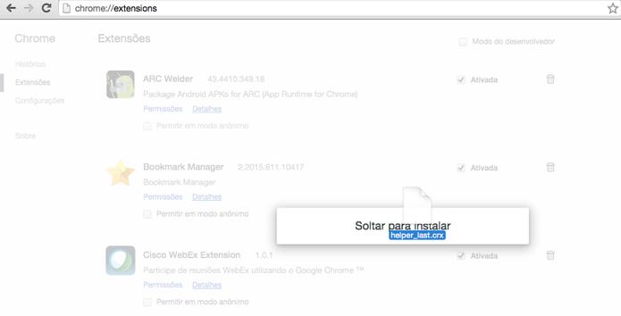 Solte a extensão no Google Chrome (Foto: Reprodução/Paulo Alves)