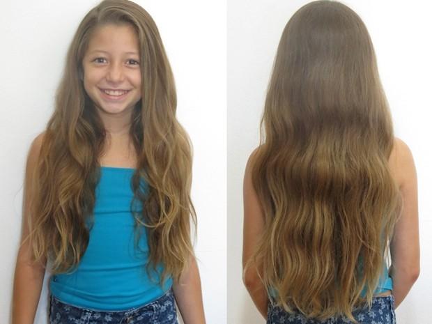 Lívia deixou cabelo crescer durante três meses (Foto: Arquivo Pessoal)