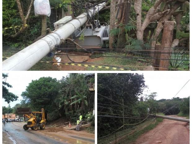 Temporal derruba postes que caem sobre casa em Búzios (Foto: Divulgação Defesa Civil)