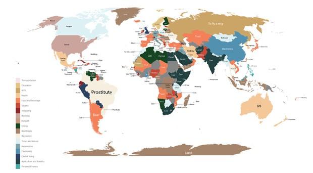 Mapa mostra o que as pessoas mais buscam comprar em cada país do mundo (Foto: Divulgação Fixr.com)
