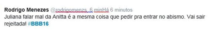 Comentário 3 Anitta JUliana BBB16 (Foto: Reprodução Internet)