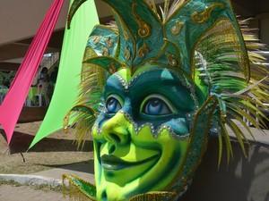 Arte representando guerreiro indígena foi colocado à exposição durante evento (Foto: Abinoan Santiago/G1)