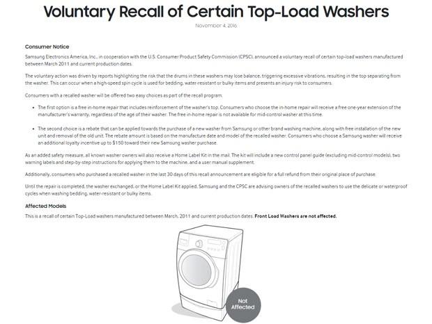 Samsung fará recall de 2,8 milhões de máquinas de lavar roupa nos EUA (Foto: Reprodução)