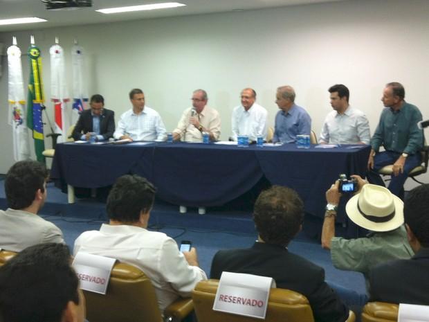 Evento cenário  político em Uberaba (Foto: Alex Rocha/G1)