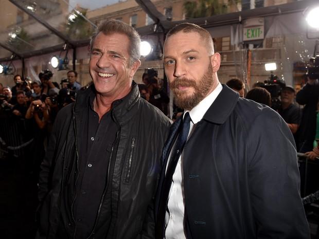 Mel Gibson e Tom Hardy em première em Los Angeles, nos Estados Unidos (Foto: Kevin Winter/ Getty Images/ AFP)