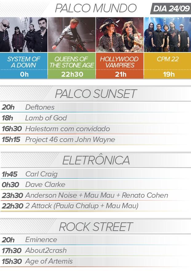 Rock in Rio 24 de setembro system of a down queens of the stone age atrações programação (Foto: G1)