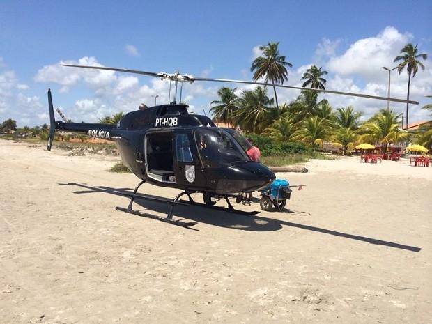 Helicóptero da SEDS foi utilizado na operação para prender o suspeito (Foto: Carlos Jorge Nepomuceno Dantas/Arquivo pessoal)