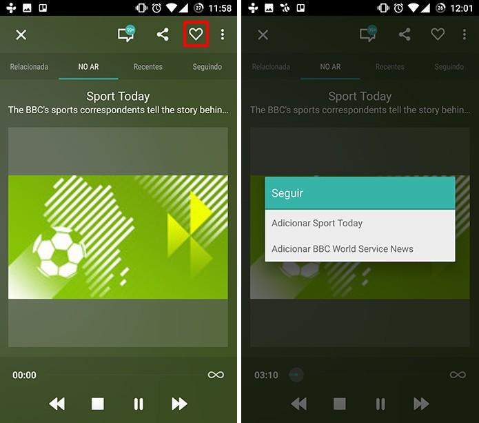Usuário pode seguir estações e programas no TuneIn (Foto: Reprodução/Elson de Souza)