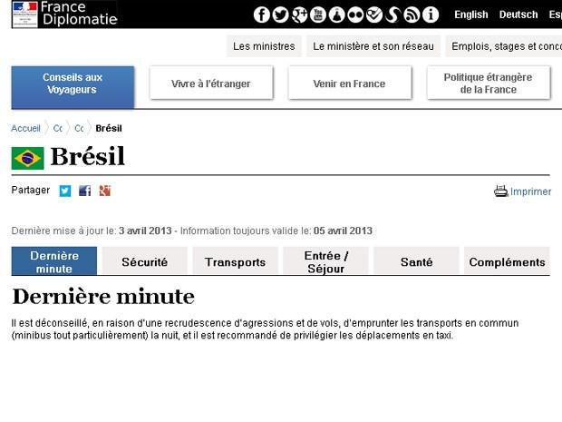 Embaixada da França publico um alerta aos turistas em seu site após assaltos a estrangeiros no Rio de Janeiro (Foto: Reprodução/ Site da Embaixada da França)