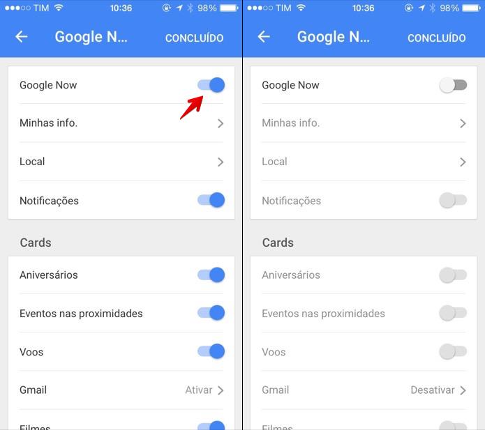 Desativando o Google Now no iOS (Foto: Reprodução/Helito Bijora)