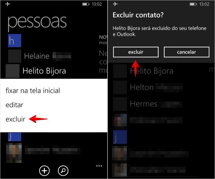 Excluindo contato da agenda do Windows Phone (Foto: Reprodução/Helito Bijora)