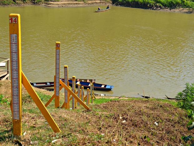 Nível do Rio Acre em Rio Branco chegou a 1,49 metro nesta sexta-feira (29) (Foto: Caio Fulgêncio/G1)