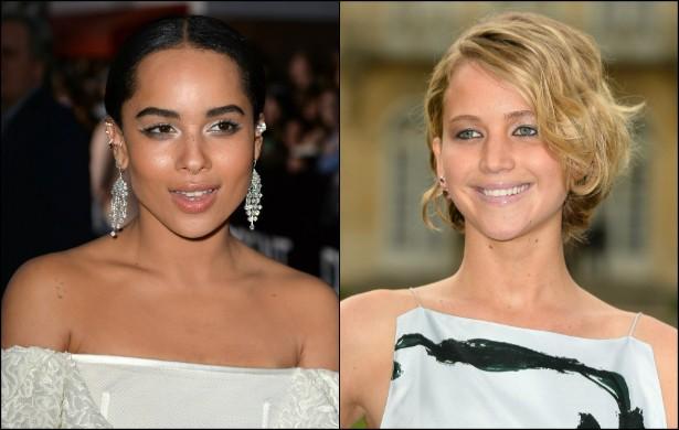 Jennifer Lawrence (à dir.) ficou muito amiga de Zoe Kravitz, filha de Lenny Kravitz, depois que ele gravou 'Jogos Vorazes' com J-Law. (Foto: Getty Images)