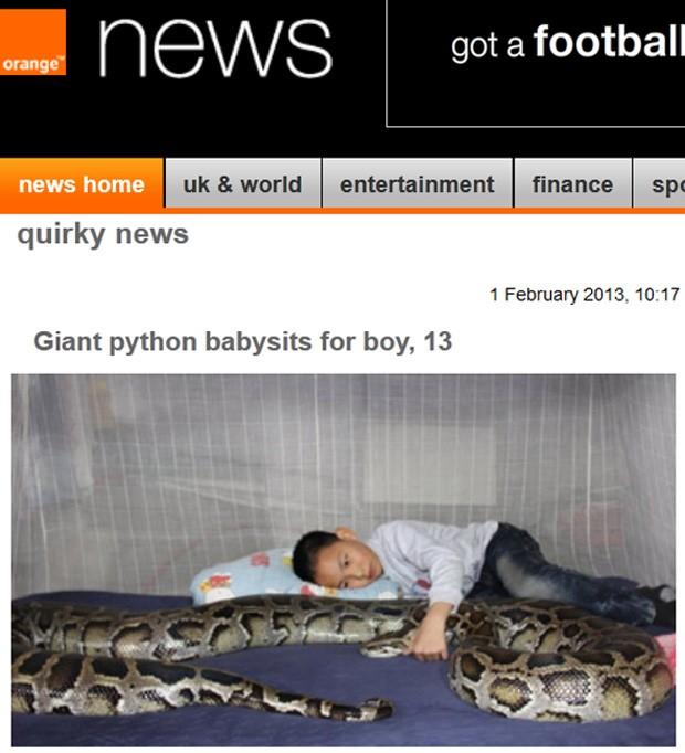 Pai cria réptil antes do nascimento do filho, e diz que criança e animal são 'inseparáveis' (Foto: Reprodução)