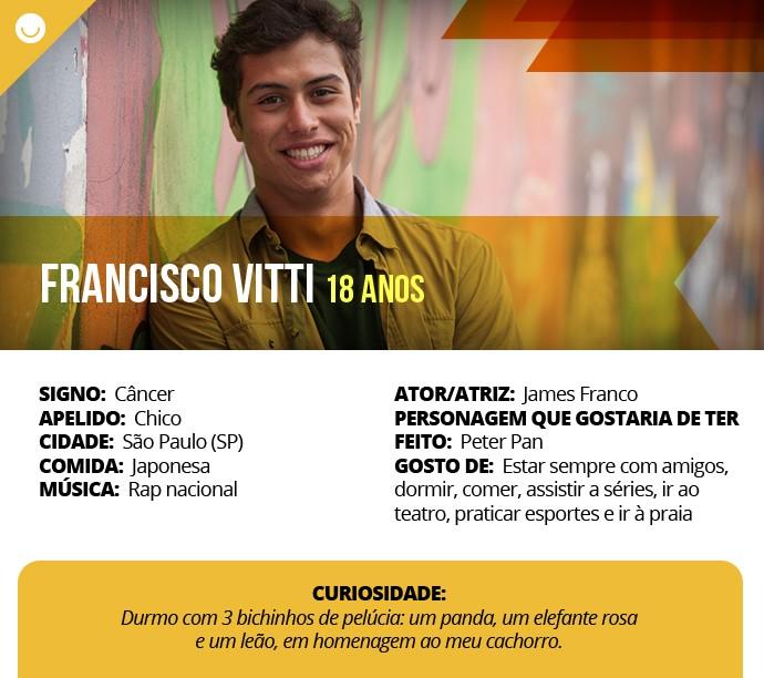 Card com informações curiosas de Francisco Vitti (Foto: Gshow)