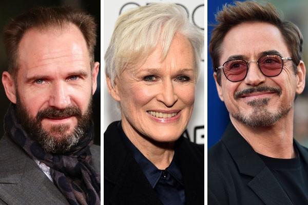 Ralph Fiennes, Glen Close e Robert Downey Jr. são alguns dos grandes nomes de Hollywood que ainda não ganharam uma estatueta dourada (Foto: Getty Images)