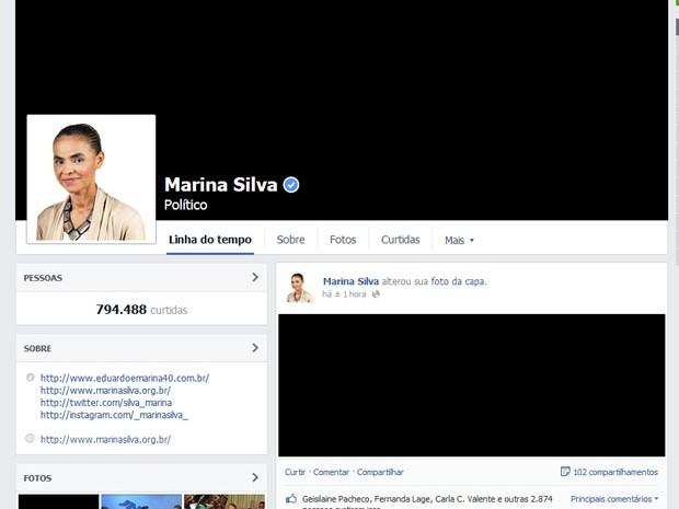 Facebook de Marina Silva também exibe imagem preta em luto pela morte de Eduardo Campos (Foto: Reprodução/Facebook)