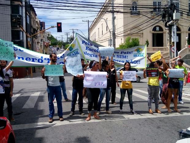 Grupos pró e contra o projeto Escola Livre dividem espaço com faixas e cartazes na pista em frente à ALE (Foto: Derek Gustavo/G1)