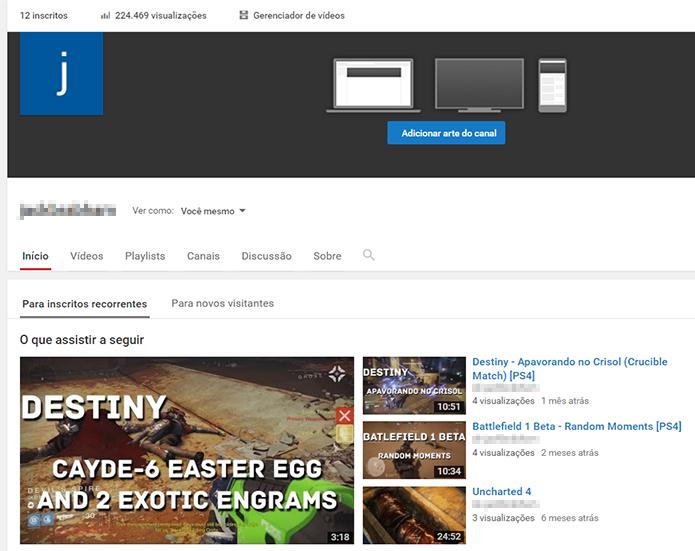 Abra a página de controle do seu canal no YouTube (Foto: Reprodução/Filipe Garrett)