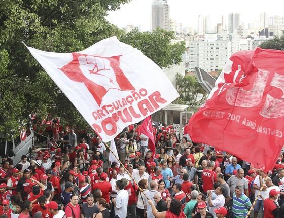 Ato no Instituro Lula convocado pela CUT e o Sindicato dos Metalúrgicos do ABC neste domingo dia 16 de Agosto. O ato foi organizado em  contraponto aos atos contra o Governo da Presidente Dilma Rousseff que acontecem em São Paulo e muitas outras cidades n (Foto: Rogério Canella/ÉPOCA)