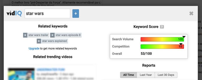 Busca de tags no YouTube com o Vidiq (Foto: Reprodução/Felipe Vinha)