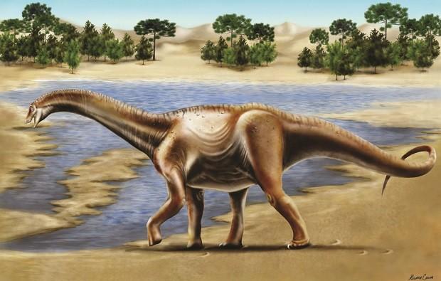 Ilustração divulgada pelo professor Rodrigo Santucci de exemplar de titanossauro (Foto: Reprodução)