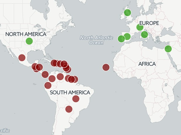 mapa zika vírus (Foto: Reprodução)