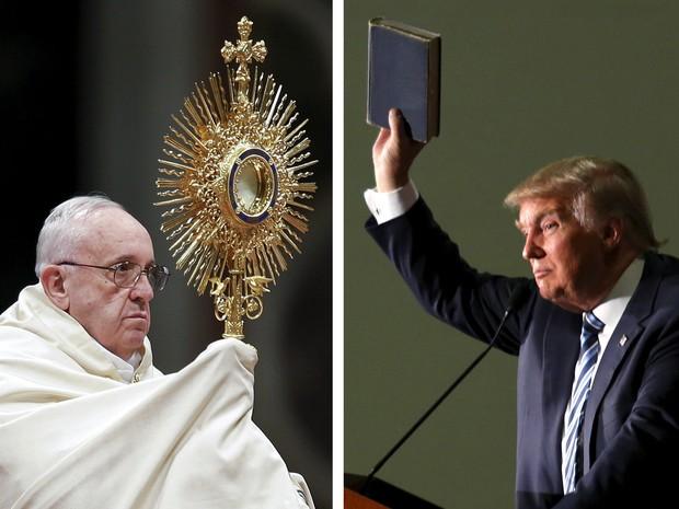 Combinação de fotos mostra o Papa Francisco e o candidato republicano às eleições dos EUA, Donald Trump (Foto: Max Rossi/Lane Hickenbottom/Reuters/Arquivo)