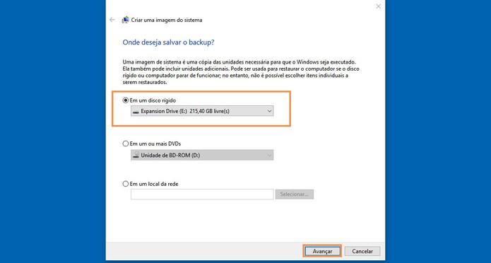 Selecione o seu HD externo para fazer o backup do sistema (Foto: Reprodução/Barbara Mannara)