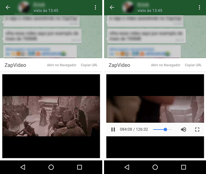 ZapZap permite assistir a vídeos grandes por streaming (Foto: Reprodução/Paulo Alves)