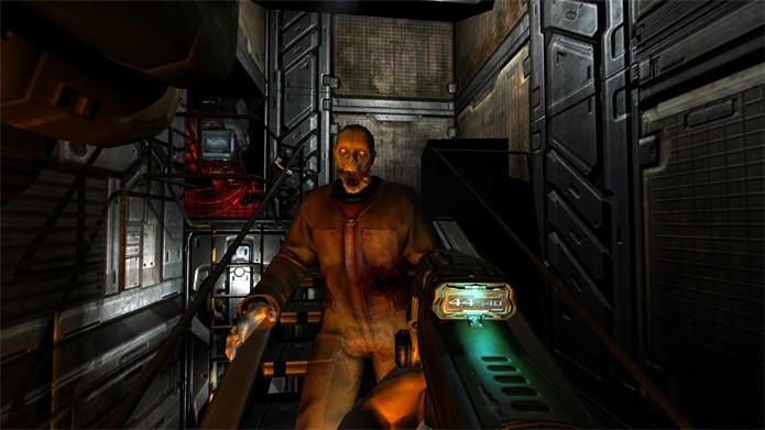 Enfrente demônios em Doom 3 BFG Edition (Foto: Divulgação/Bethesda)