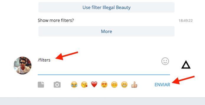 Verificando os filtros disponíveis no bot do Prisma para Telegram (Foto: Reprodução/Marvin Costa)