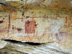 Pinturas rupestres cobrem paredes de cavernas da Serra da Capivara (Foto: AFP Photo/Joaquim Neto - FUMDHAM)