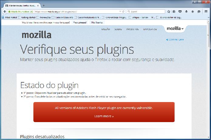 Página Plugin Check verifica se os plugins estão atualizados no Firefox (Foto: Felipe Alencar/TechTudo)