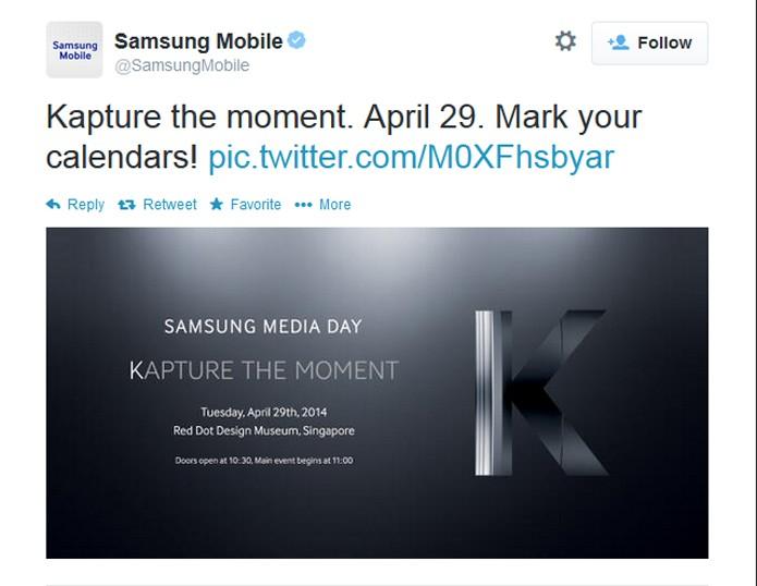 Samsung faz convite à imprensa para o lançamento do susposto Galaxy K (Foto: Reprodução/ Twitter)