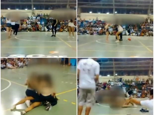 Em trote, calouras simularam sexo e tiraram as roupas na UFSCar (Foto: Reprodução/EPTV)