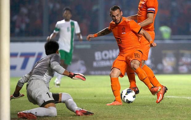 Wesley Sneijder holanda gol indonésia (Foto: Agência AP)