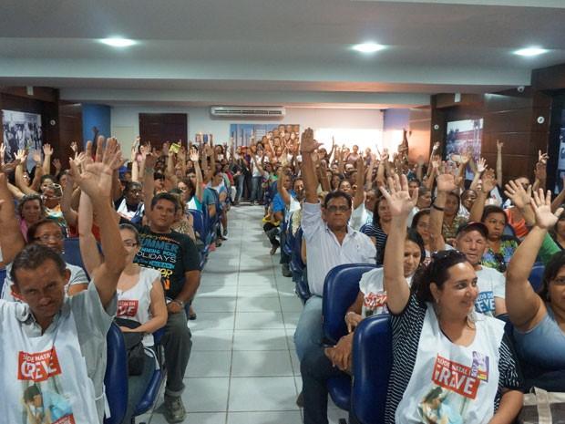 Servidores da saúde de Natal votaram pelo fim da greve em assembleia nesta segunda (Foto: Divulgação/Sindsaúde)