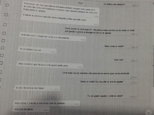 Mulher confessou crime pelo WhatsApp (Foto: Reprodução)